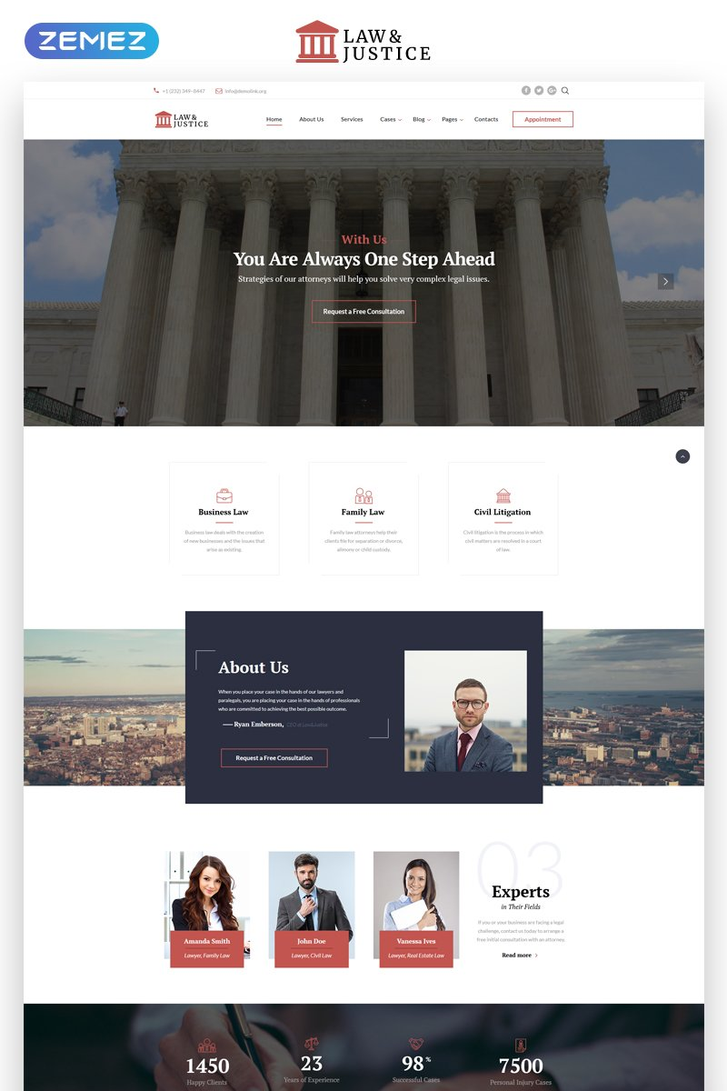 Lawyer Multipage HTML5 Parallax Website Template