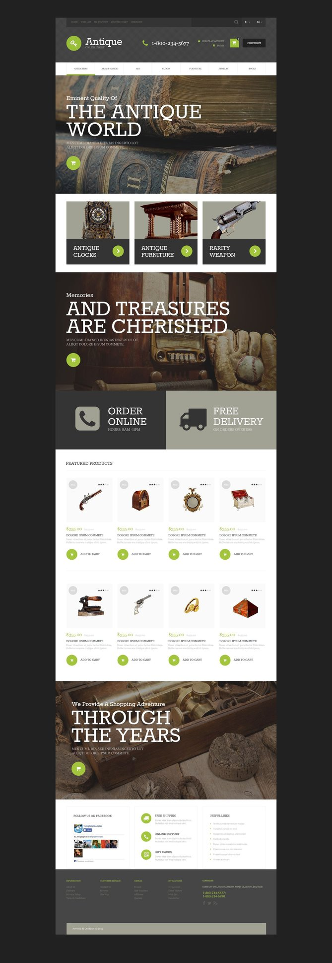 Antique Store Parallax OpenCart Template