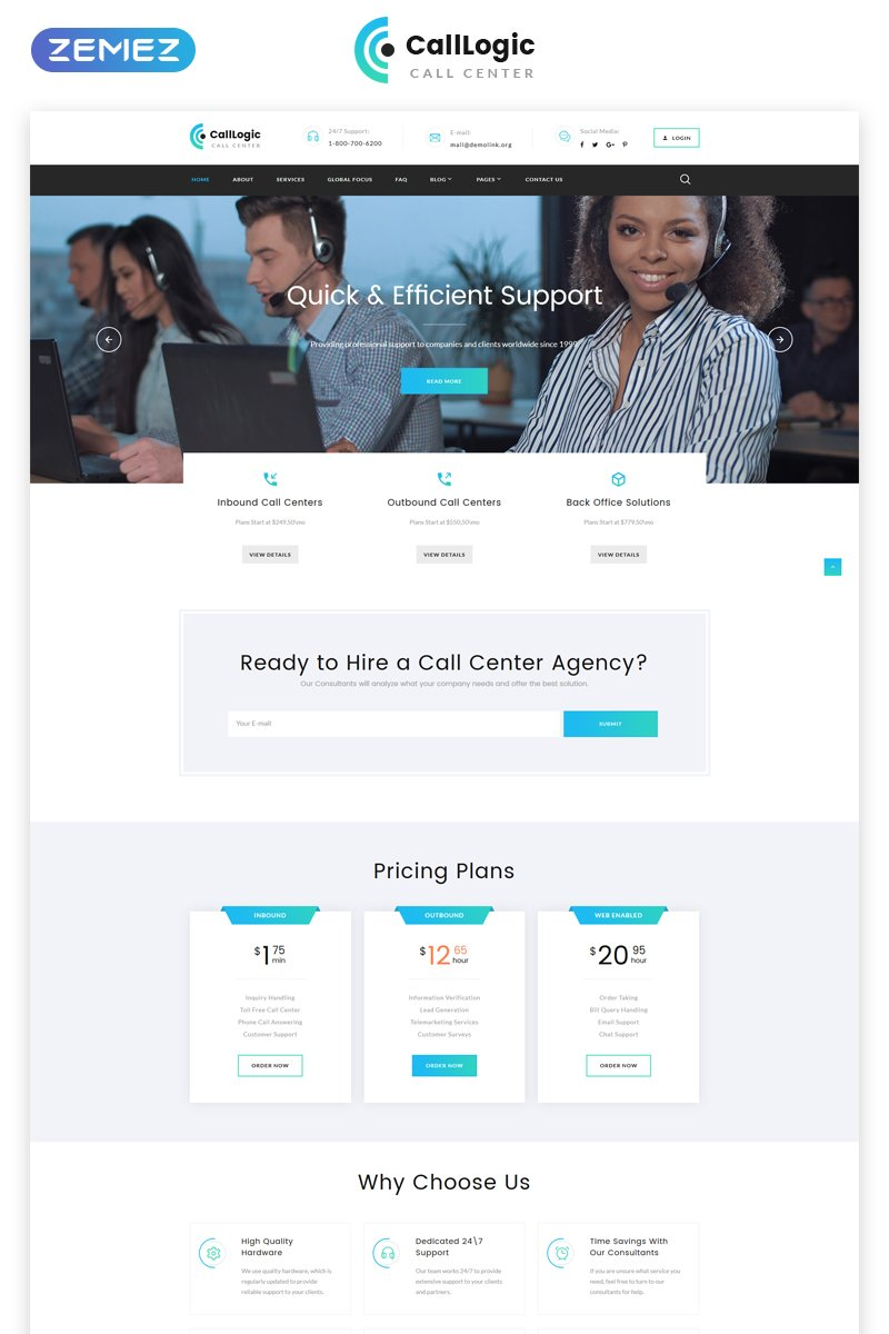 Call Center Multipage HTML5 Bootstrap Website Theme