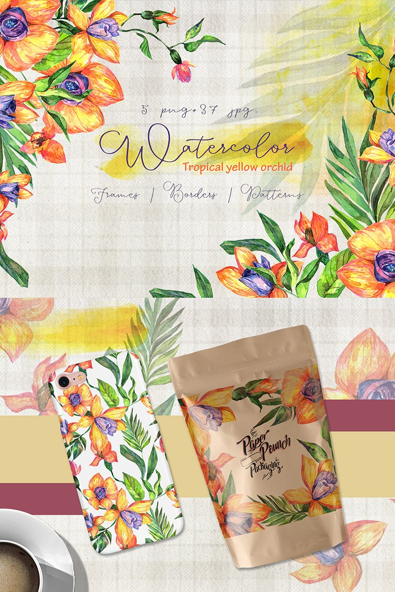 Tropical Yellow Orchid PNG Watercolor Set Illustration Template