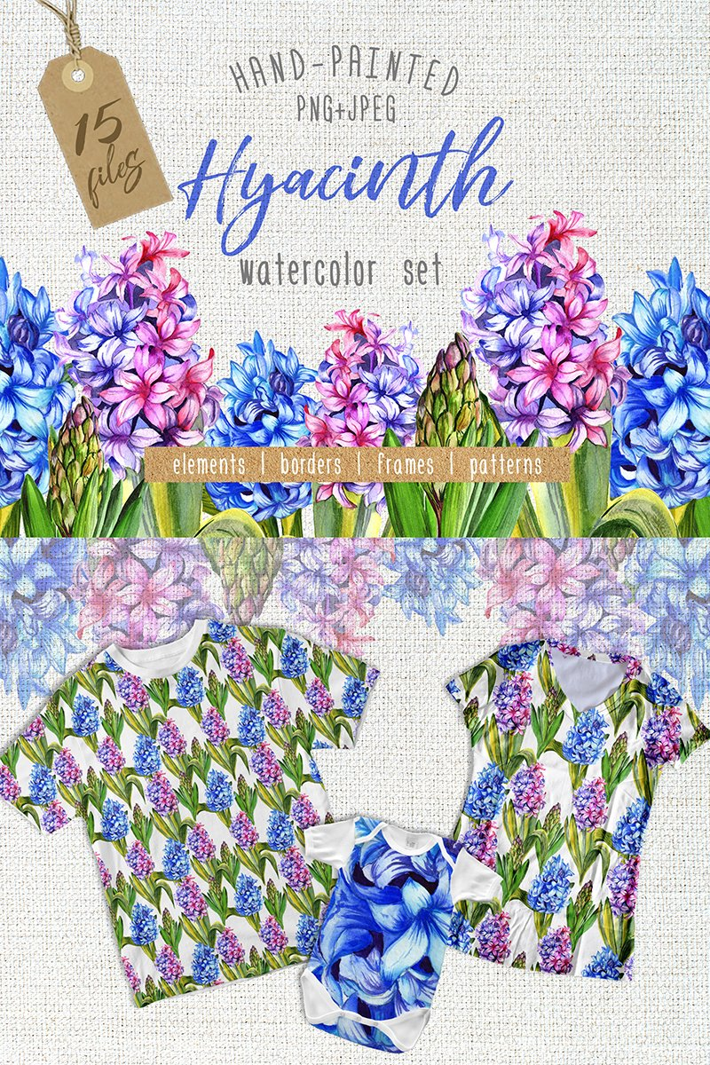Colorful Hyacinth PNG Watercolor Bundle Theme