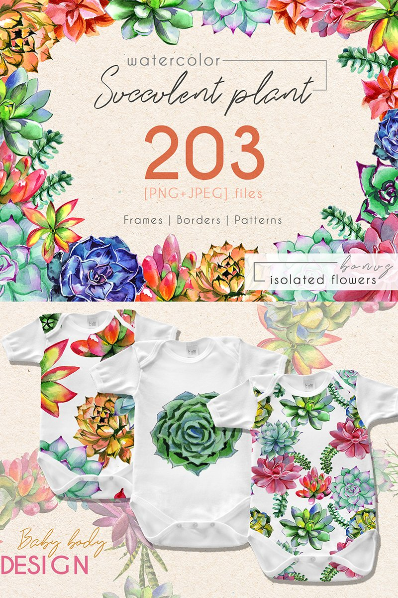 Succulent Plant PNG Watercolor Set Bundle Template