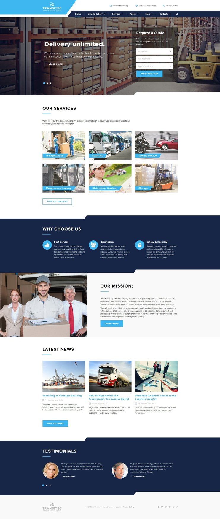 Moving Company Parallax Website Theme