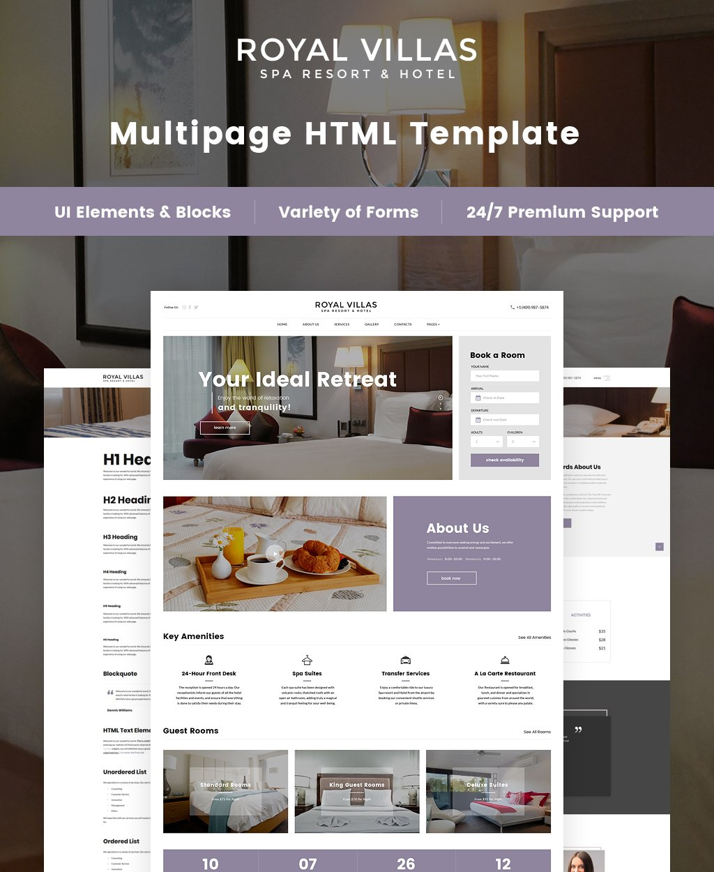 Spa Resort & Hotel Responsive Multipage Responsive Website Theme