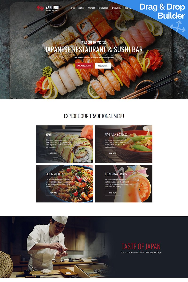 Japanese & Sushi Restaurant Bootstrap Moto CMS 3 Template