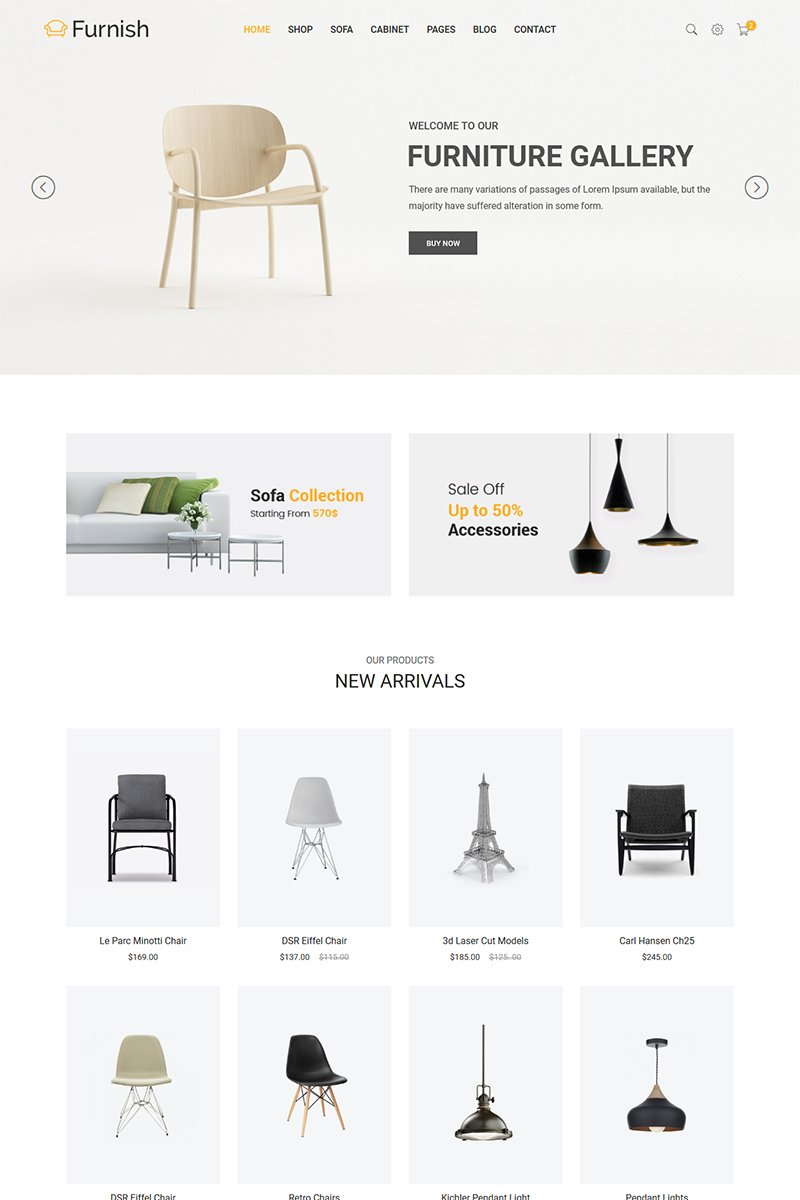 Minimalist Furniture Responsive Website Theme