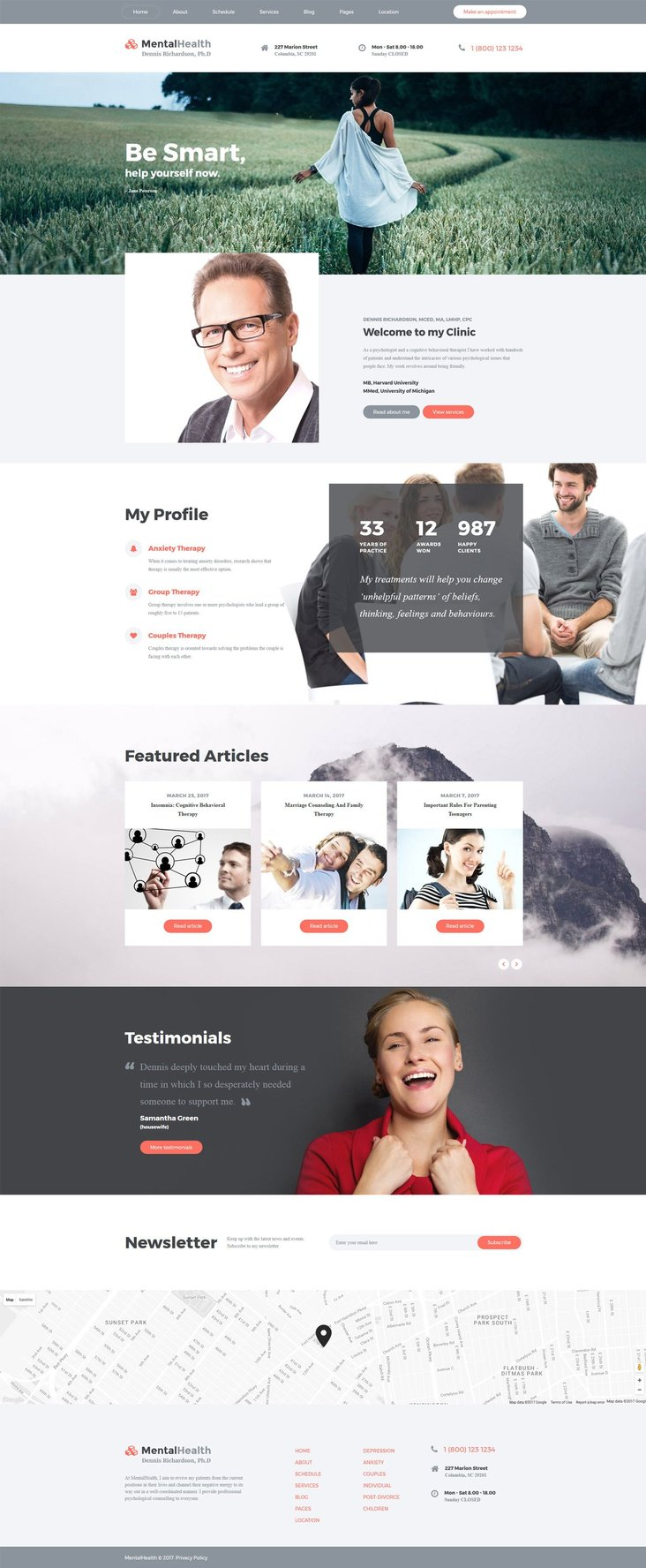 Psychologist Multipage Parallax Website Template