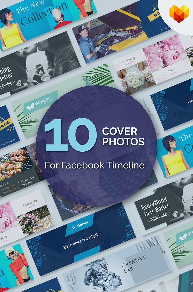 10 Cover Photos For Facebook Timeline Bundle Template