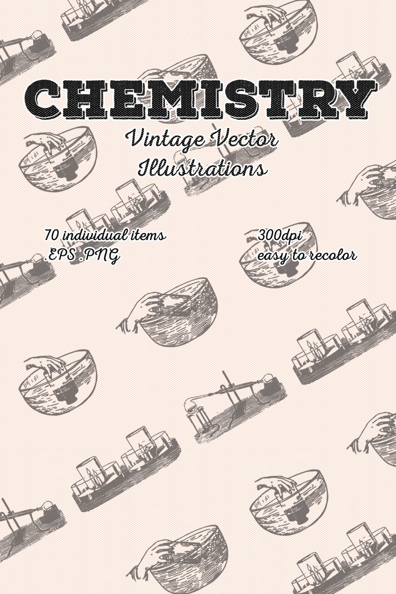 70 Chemistry Vintage Vector Illustration Template