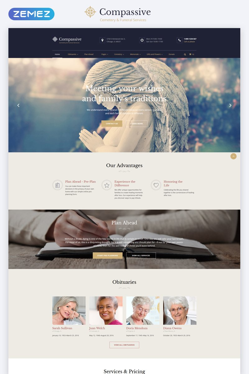 Cemetery & Funeral Services HTML5 Parallax Website Template