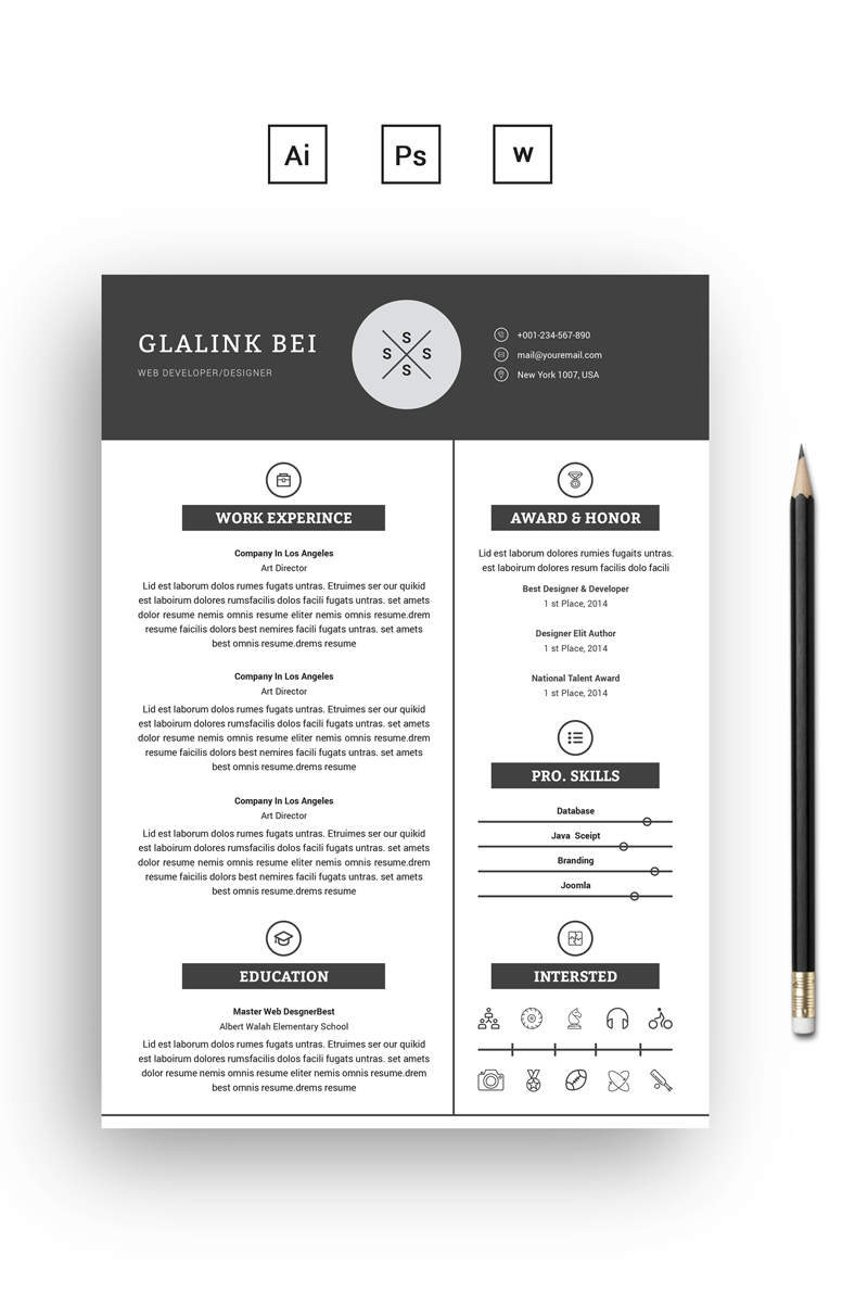 2 Pages Glalink Resume Theme