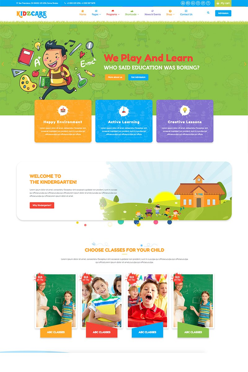 Children Day Care Academic Multipurpose Responsive HTML5 Bootstrap Website Theme