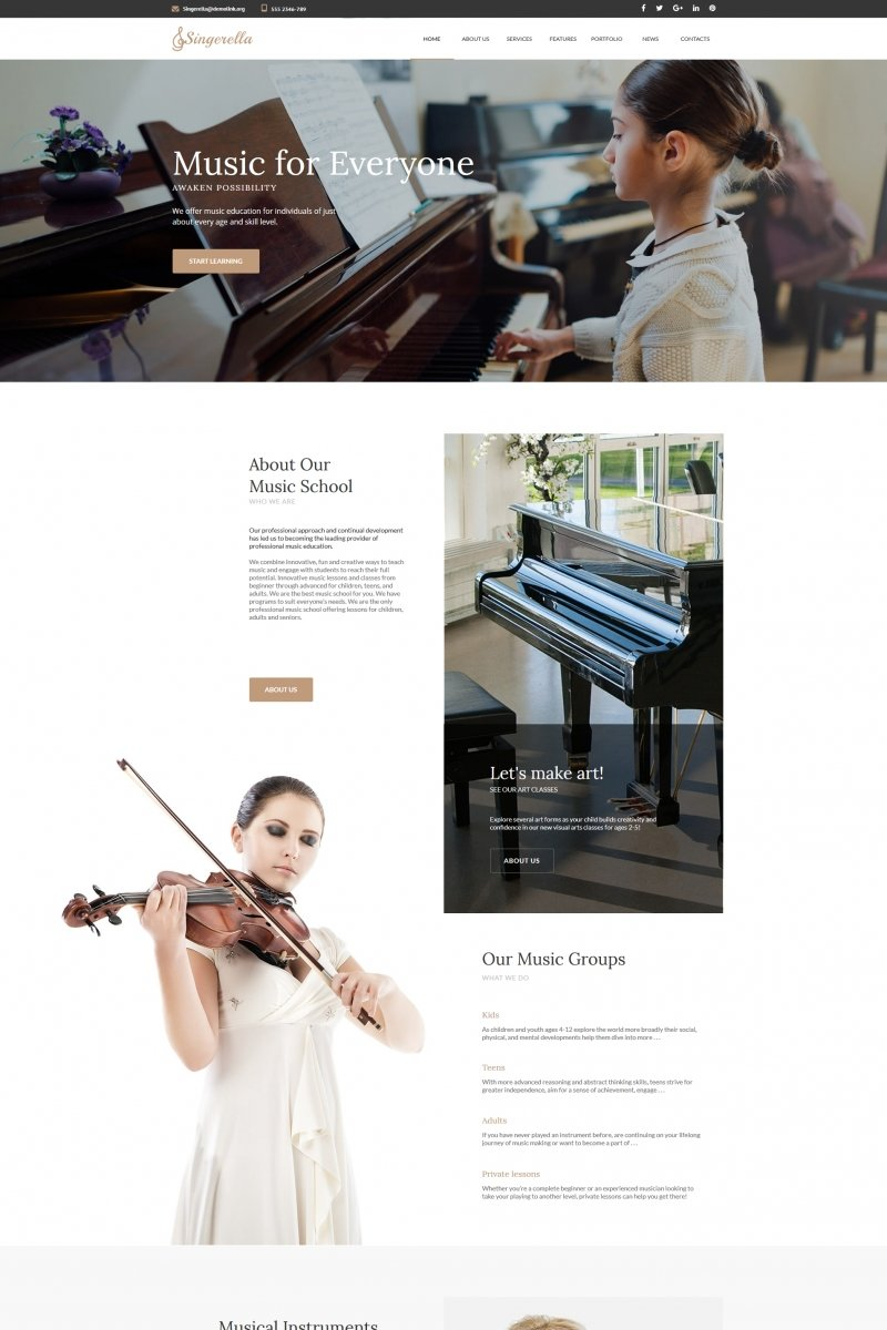 Music School Moto CMS HTML Theme