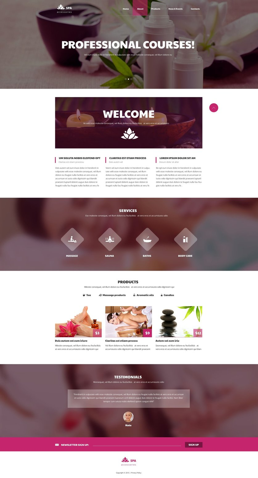 Spa Accessories Parallax Website Template
