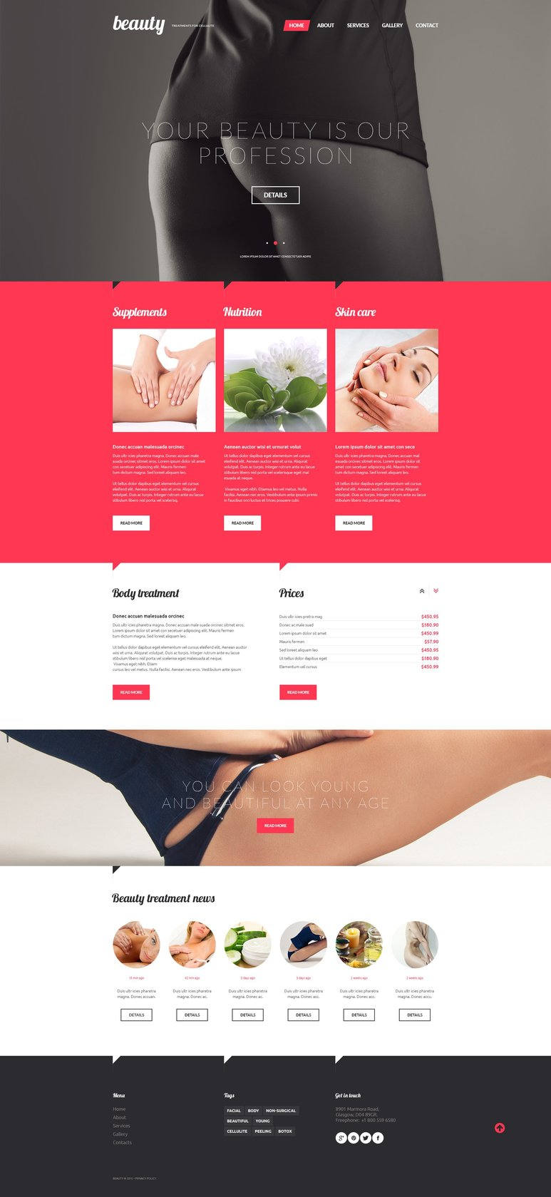 Treatments for Celulite Responsive Website Theme