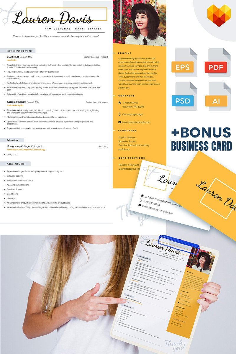 Personal Pages Lauren Davis Hair Stylist Resume Template