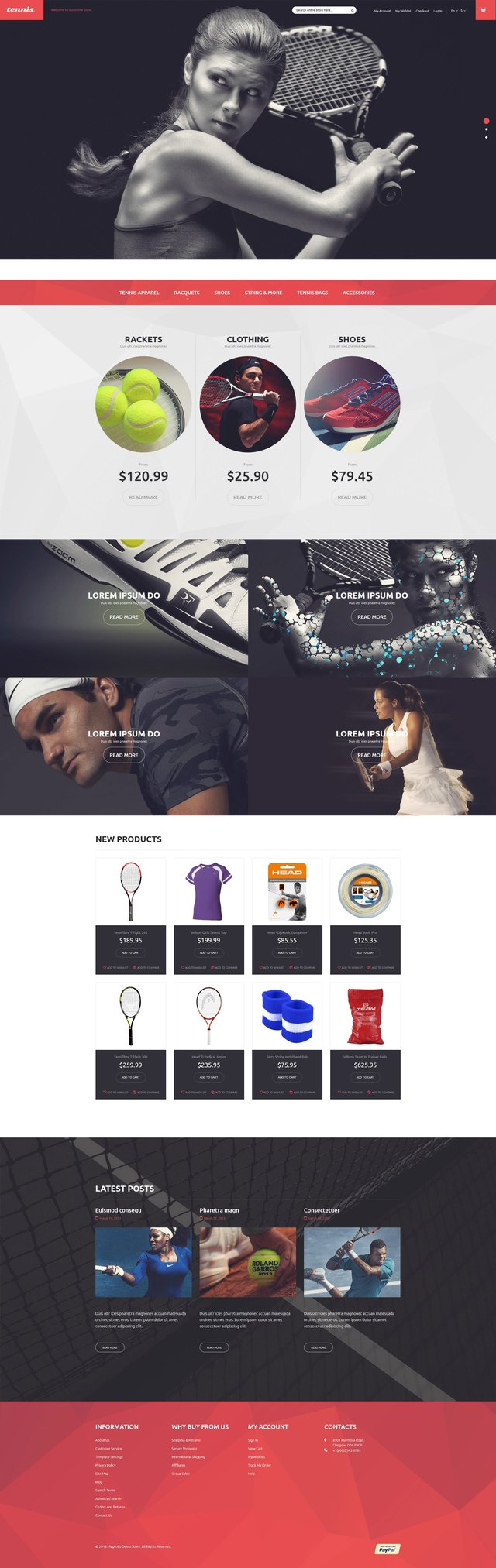 Tennis Equipment Bootstrap Magento Template