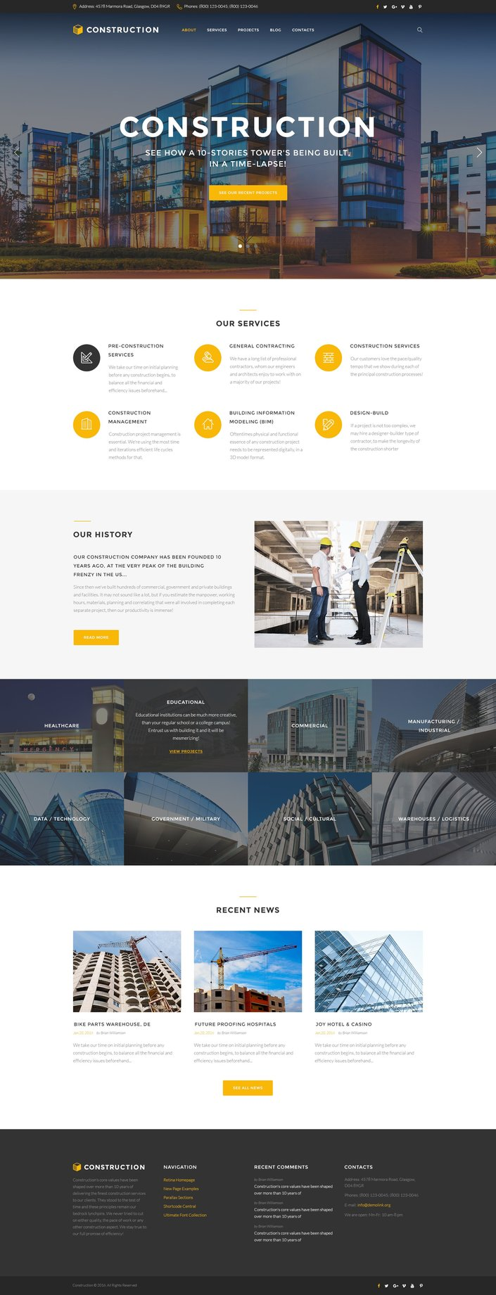 Construction Company Responsive Multipage Responsive Website Theme