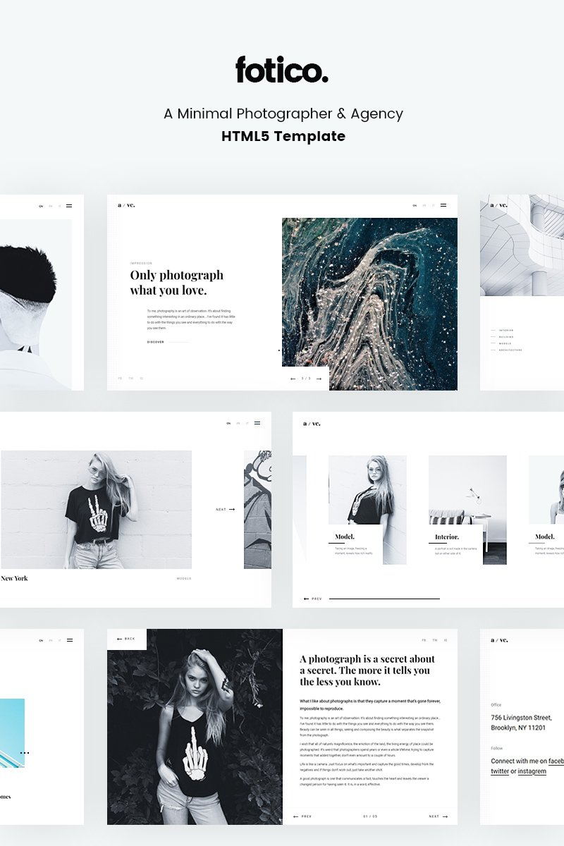 Minimal Photographer & Agency HTML5 Website Template