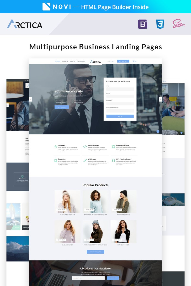 Multipurpose Business with Novi Builder Premium Landing Page Theme