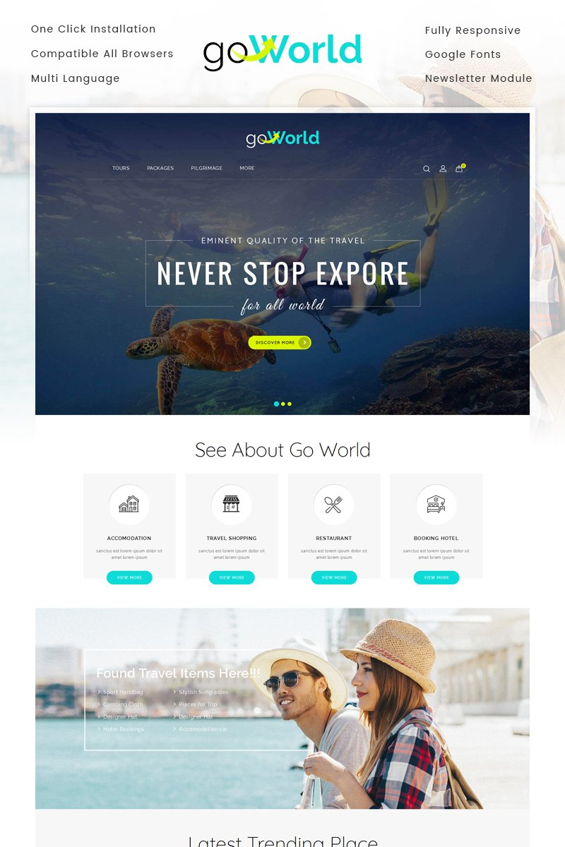 Travel Store Bootstrap OpenCart Theme