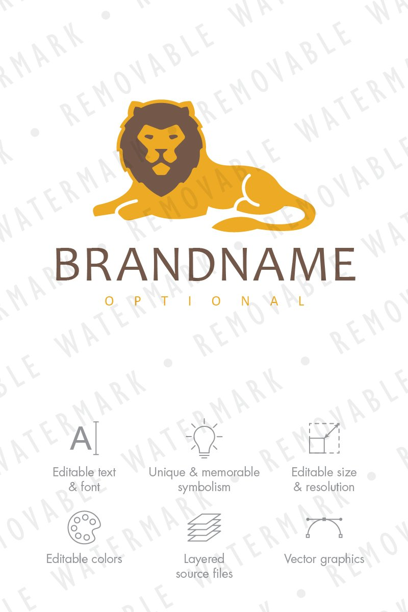 Resting Lion Logo Template