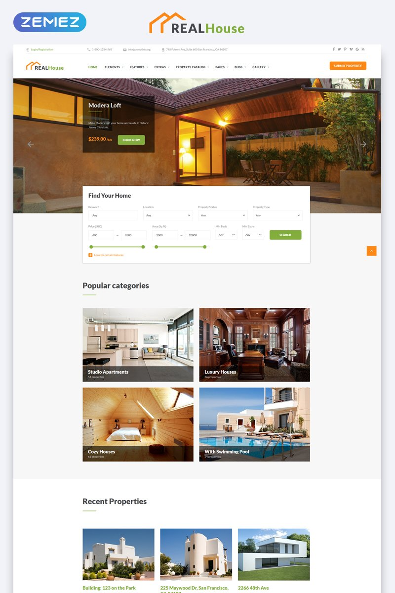 Real Estate Multipage HTML5 Bootstrap Website Template