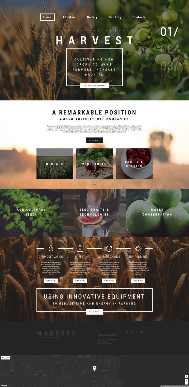 Harvest Parallax WordPress Template