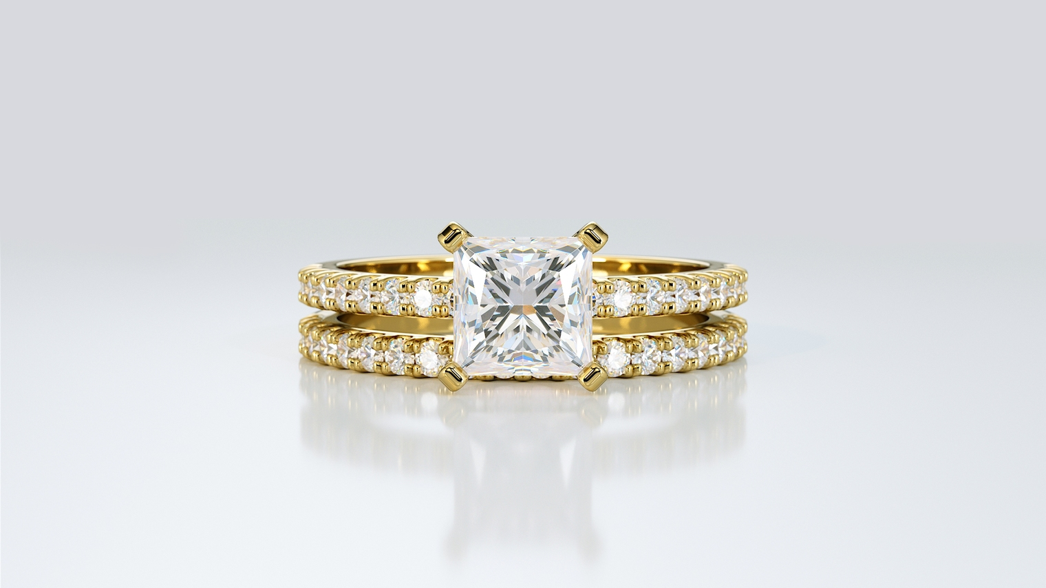 Bridal Set, Engagement Ring, Wedding Ring, Princess Shape, Yellow Gold, Diamonds