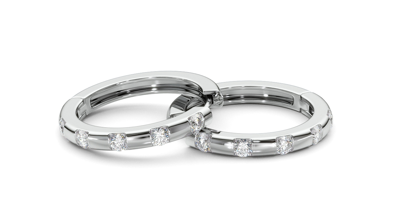 Hoop Earrings, White Gold, Rhodium Plated, Diamonds