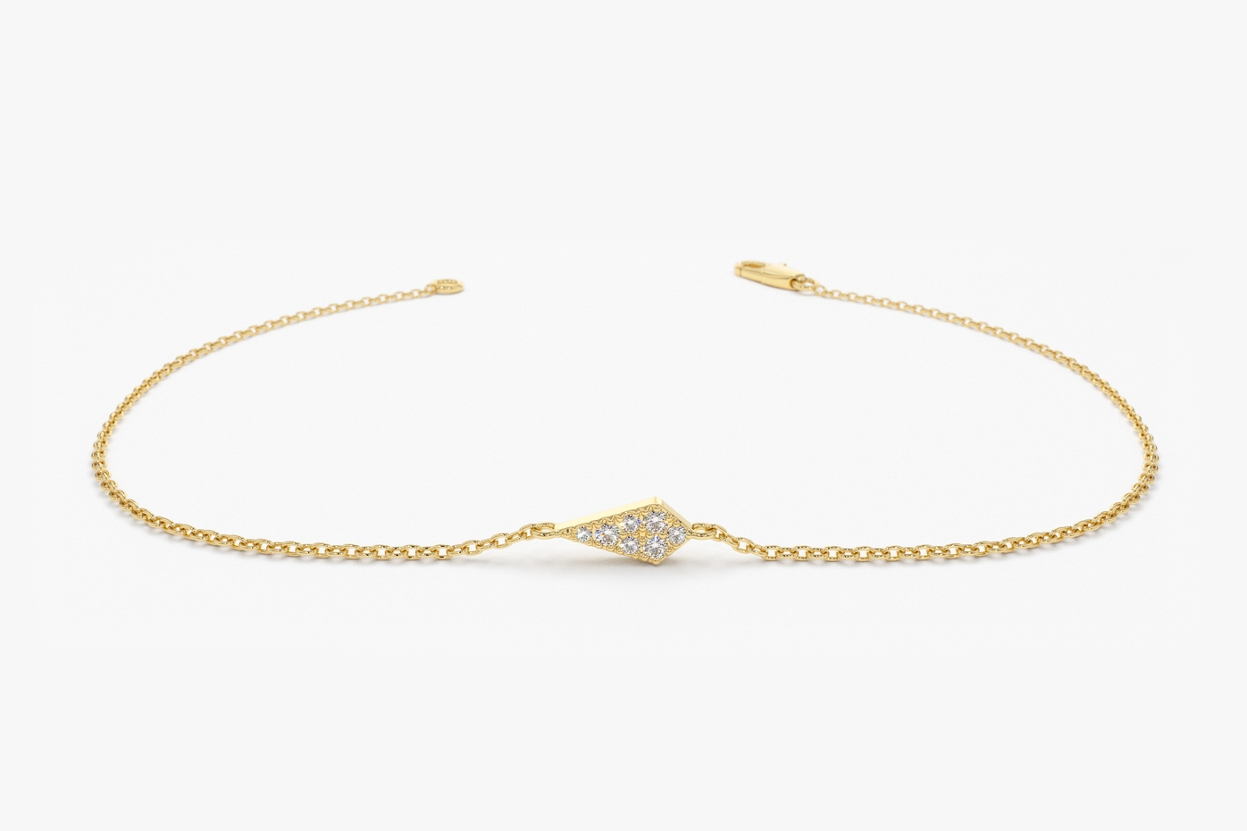 Bracelet, Yellow Gold, Kite Shape, Diamonds, Lobster Lock