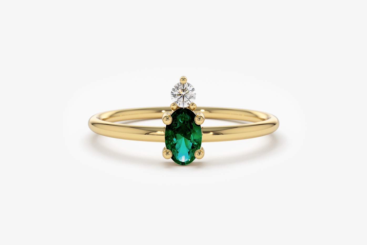 Ring, Emerald, Oval Shape, Yellow Gold