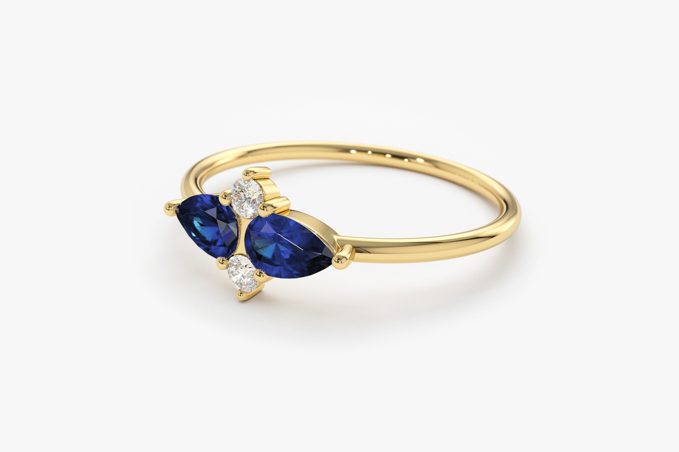 Yellow Gold, Sapphire, Diamond, Pear Shape