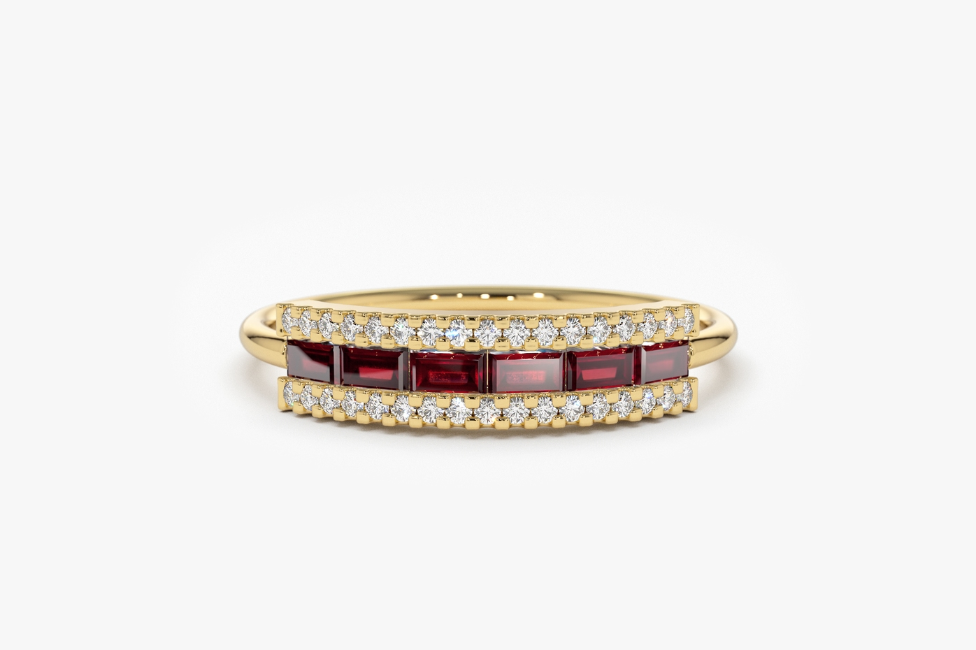 Ring, Yellow Gold, Ruby, Baguette