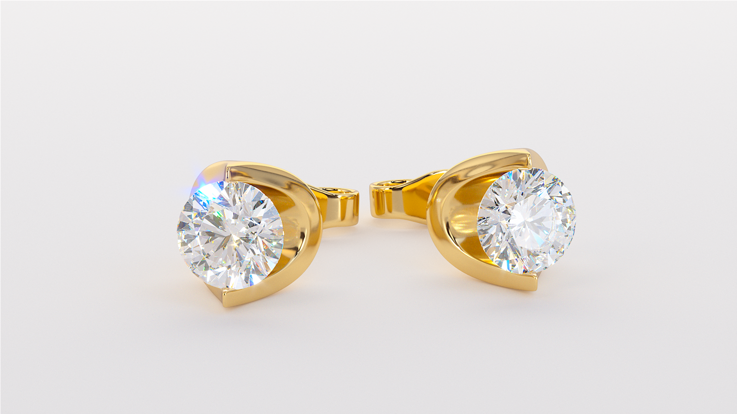 Yellow Gold, Round Diamonds, Earrings, Stud