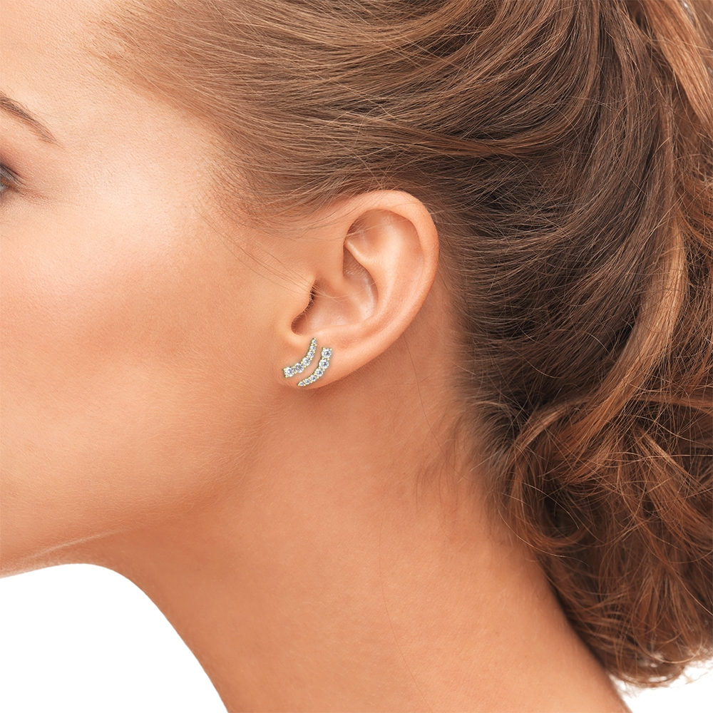 Female Ear, Earrings, Gold, Diamonds