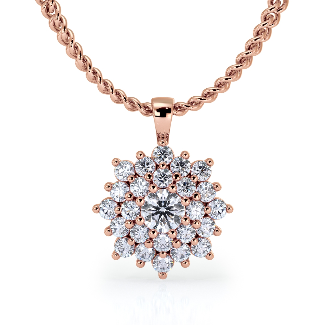 Rose Gold, Pendant, Diamonds, Chain
