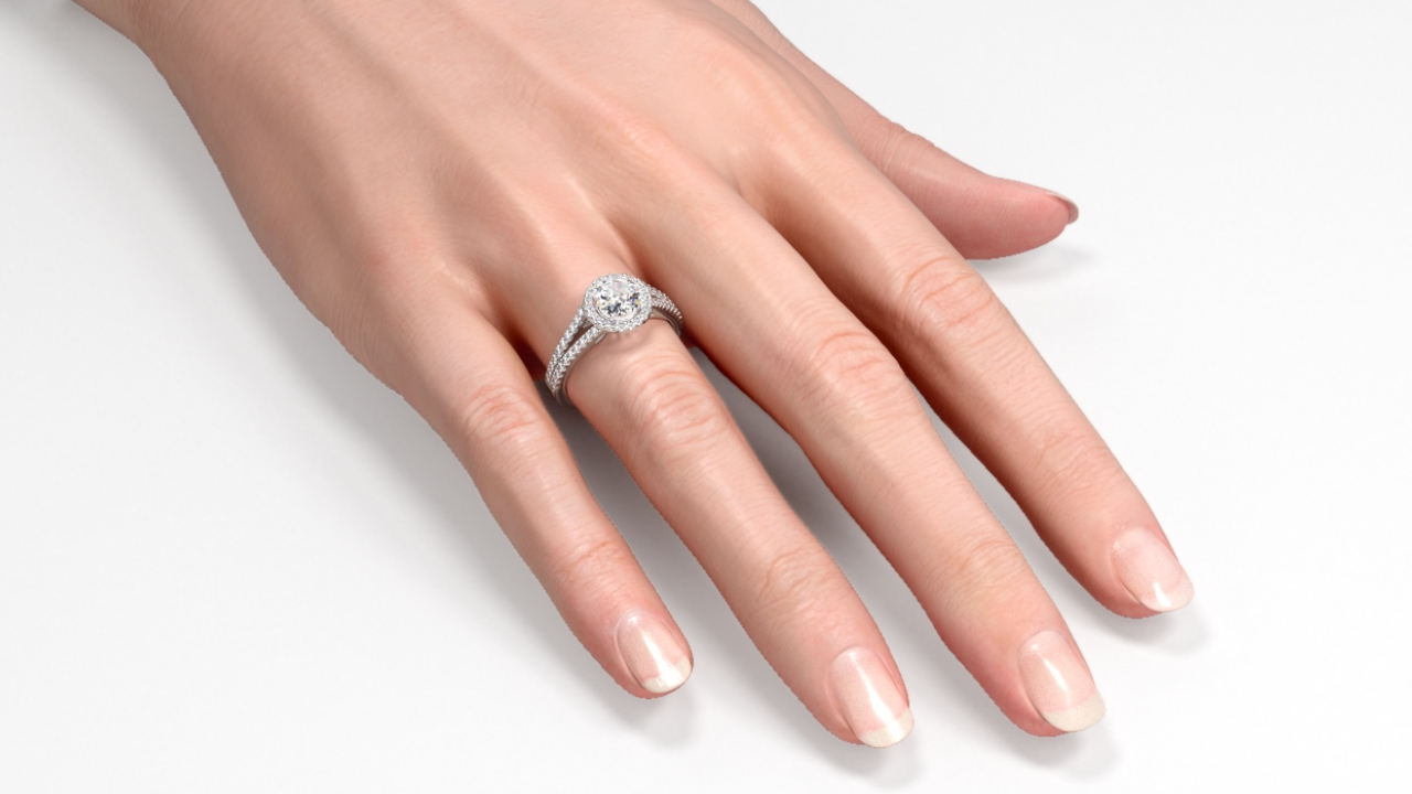 Female Hand, Engagement Ring. Diamonds