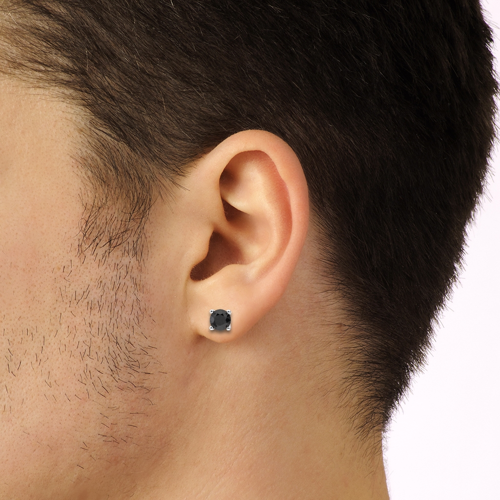 Male Ear, Earrings, Stud, Black Diamond, White Gold