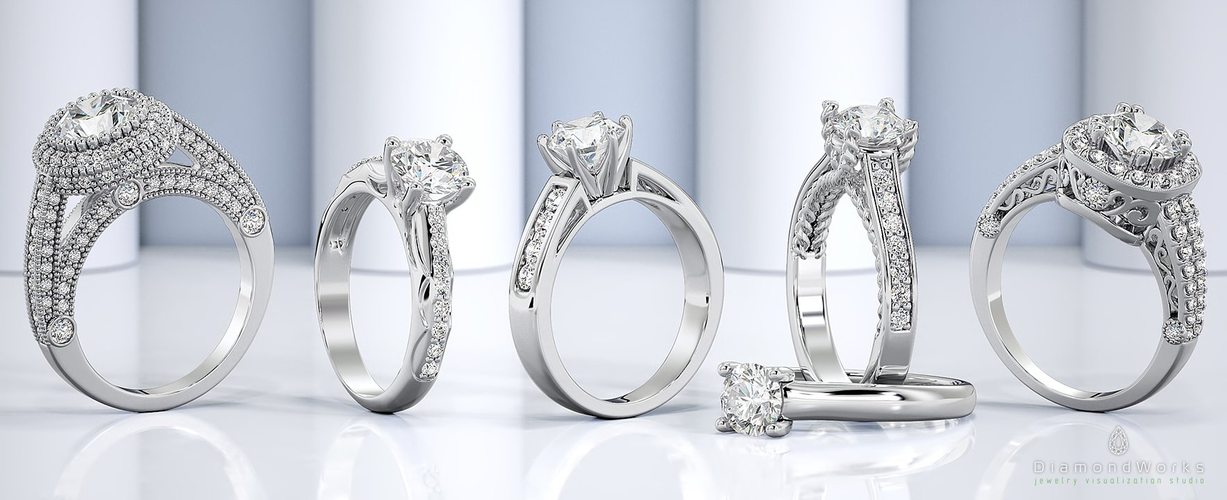 Banner, White Gold, Diamonds, Rings, Engagement