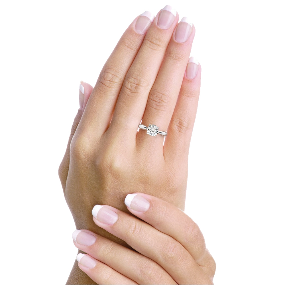 Female Hand, Ring, Solitaire, Diamond, Gold