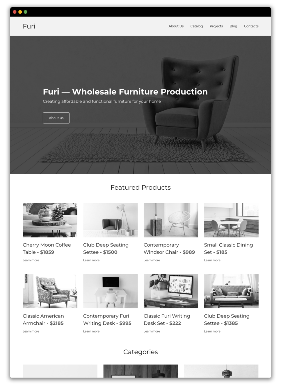 Furniture website prototype