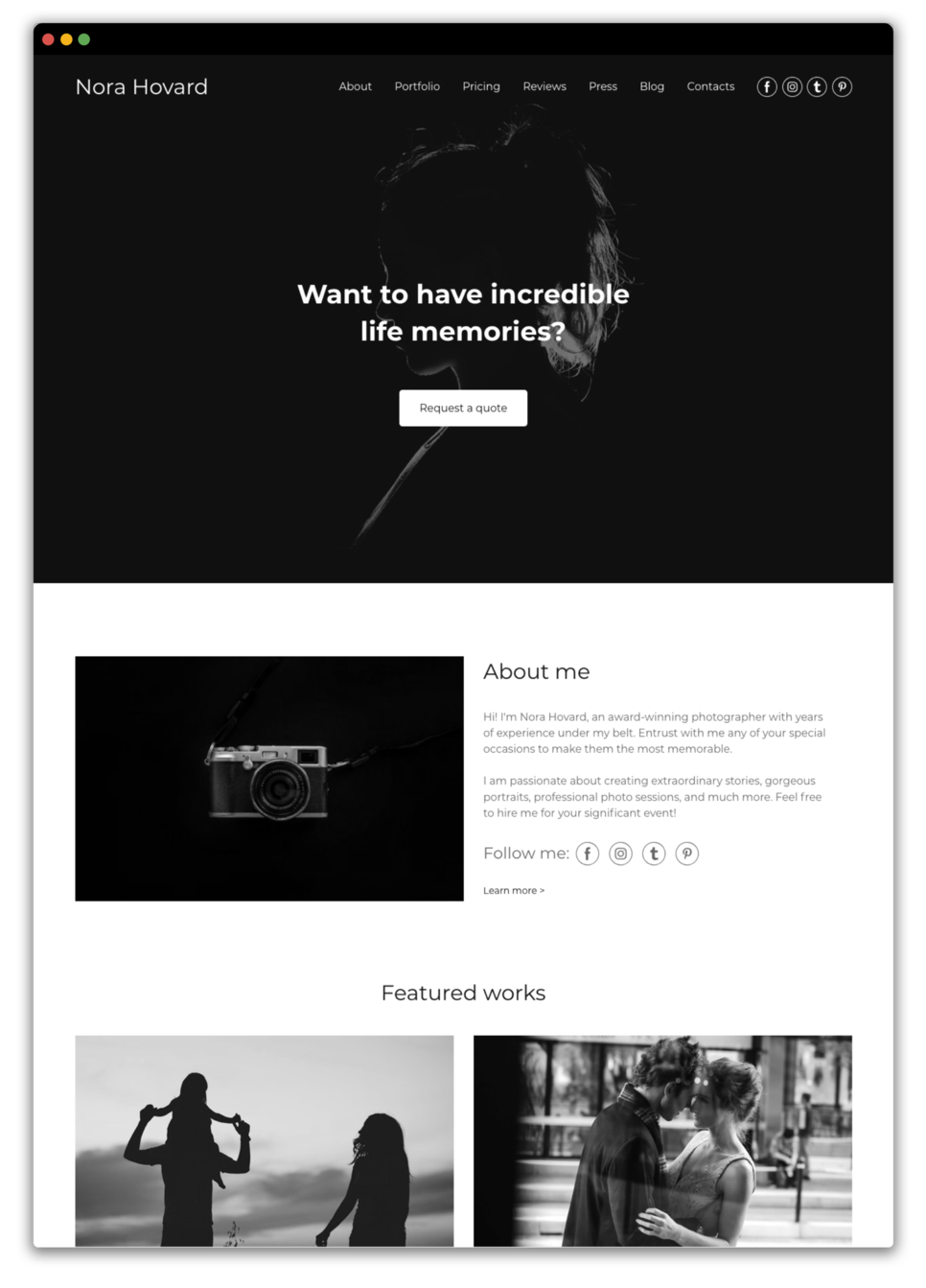 Photographer website prototype