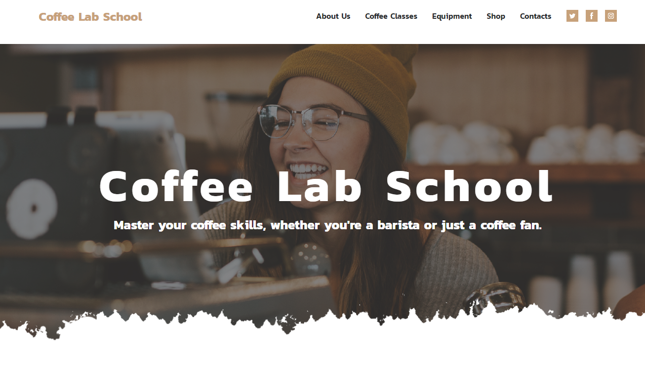 Barista School template by weblium
