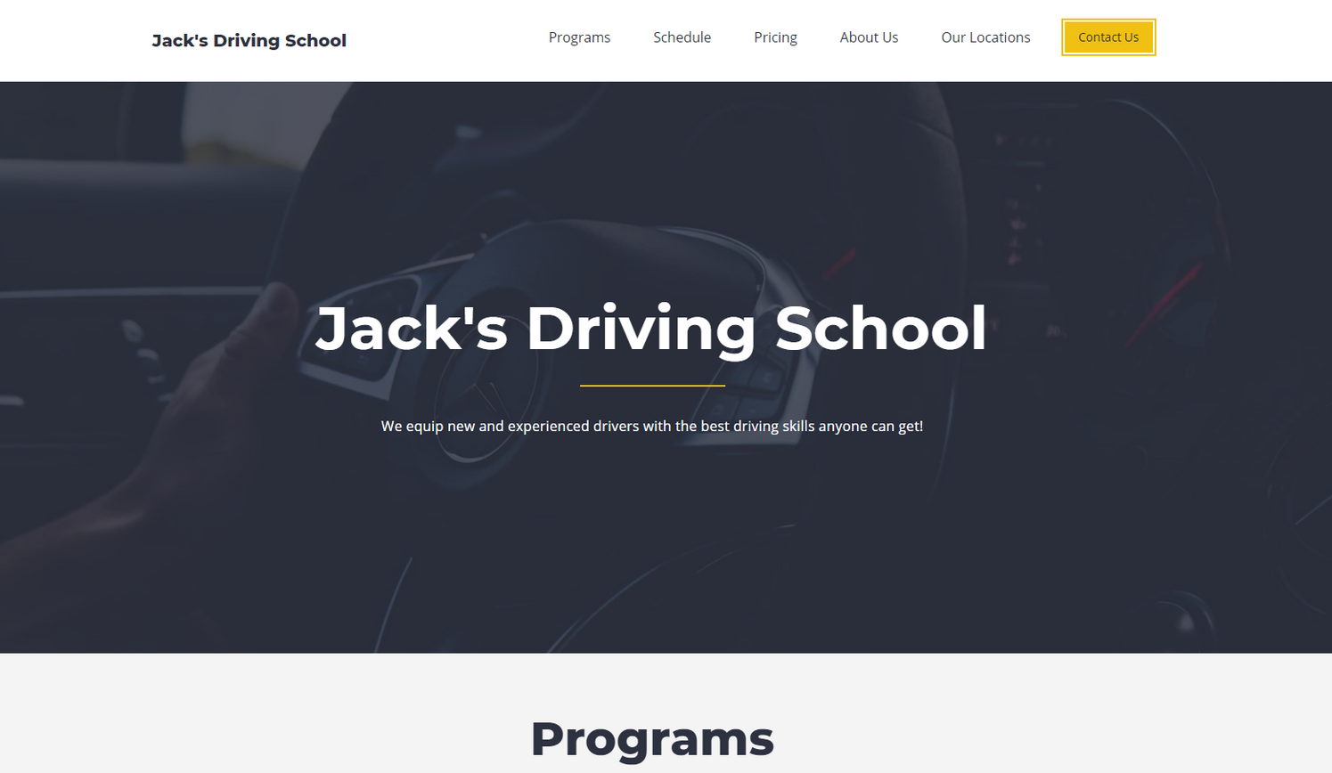 Driving Classes Website Template - Weblium