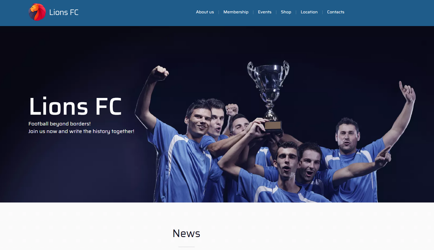 Football Club Website Templates - Weblium