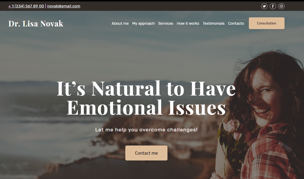 Online Therapy Website Template - Weblium
