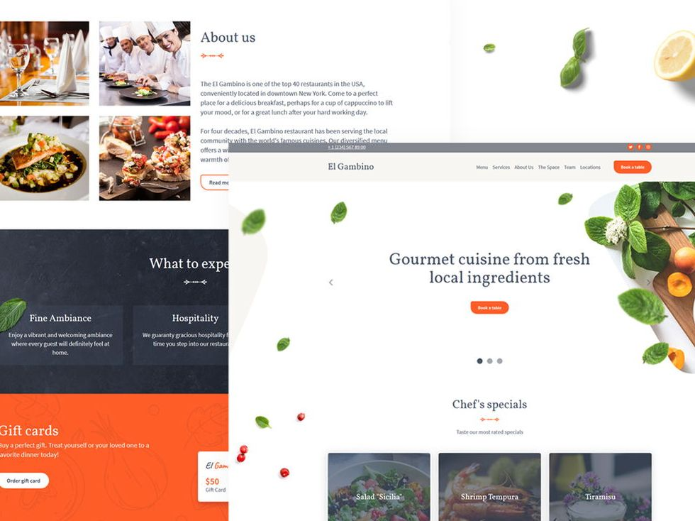 Restaurant template: view demo
