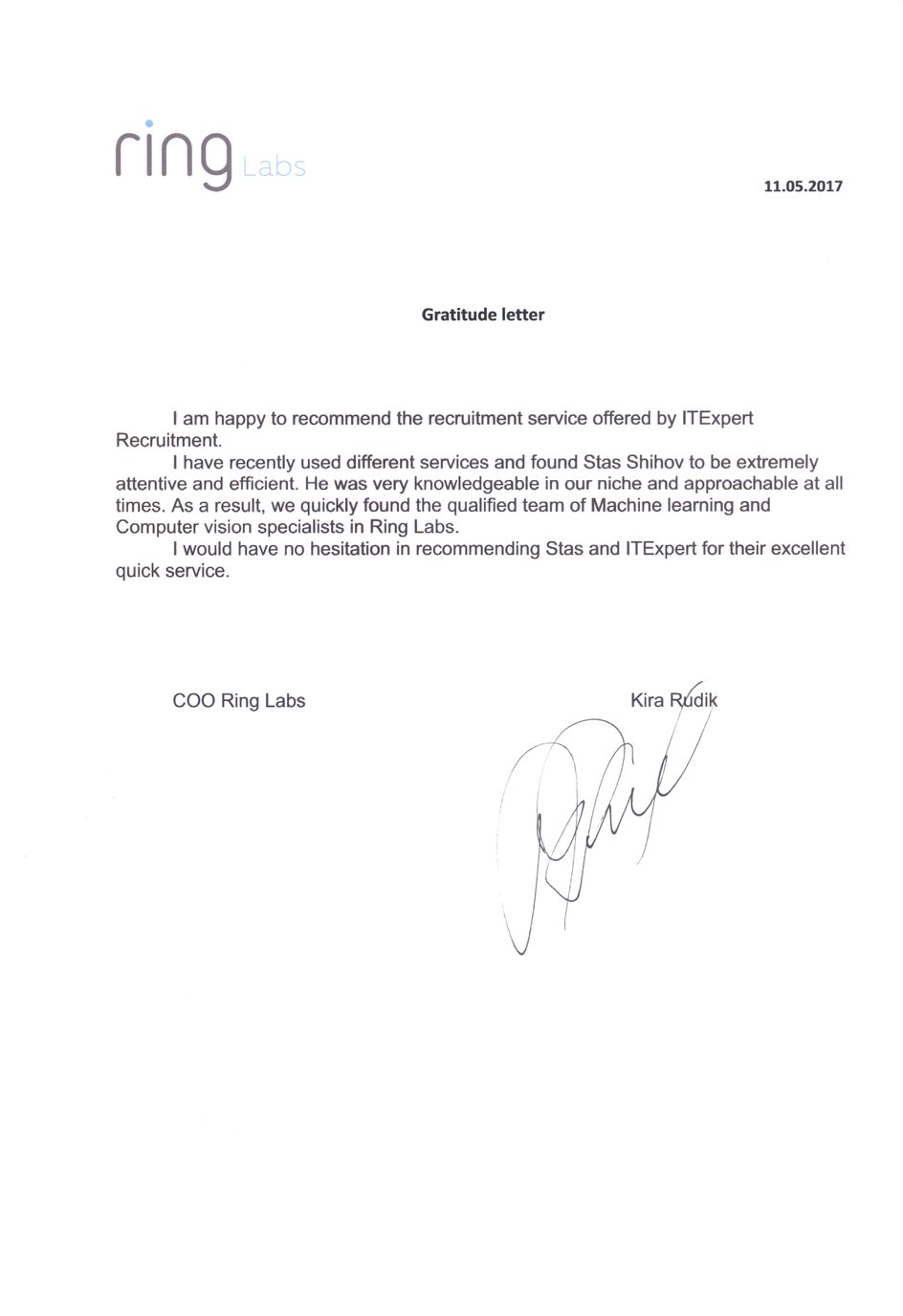 Ring recommendation letter