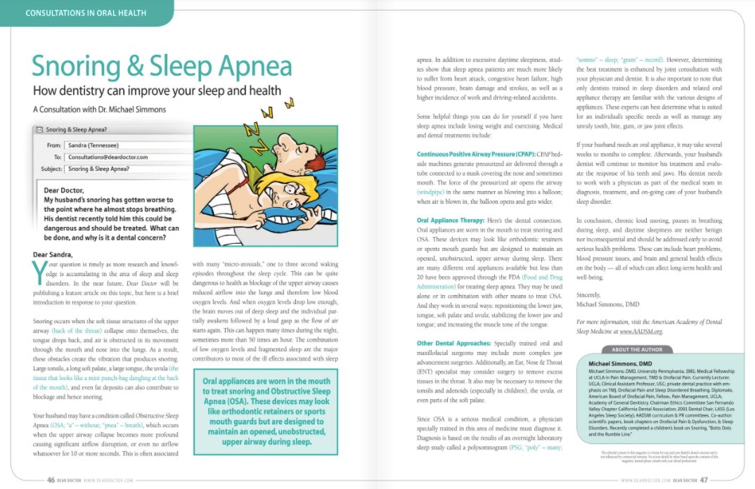 snoring and sleep apnea dentistry treatment in portage